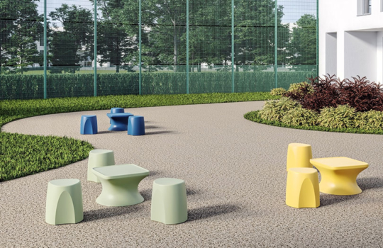 Ryno stools and coffee tables outdoors